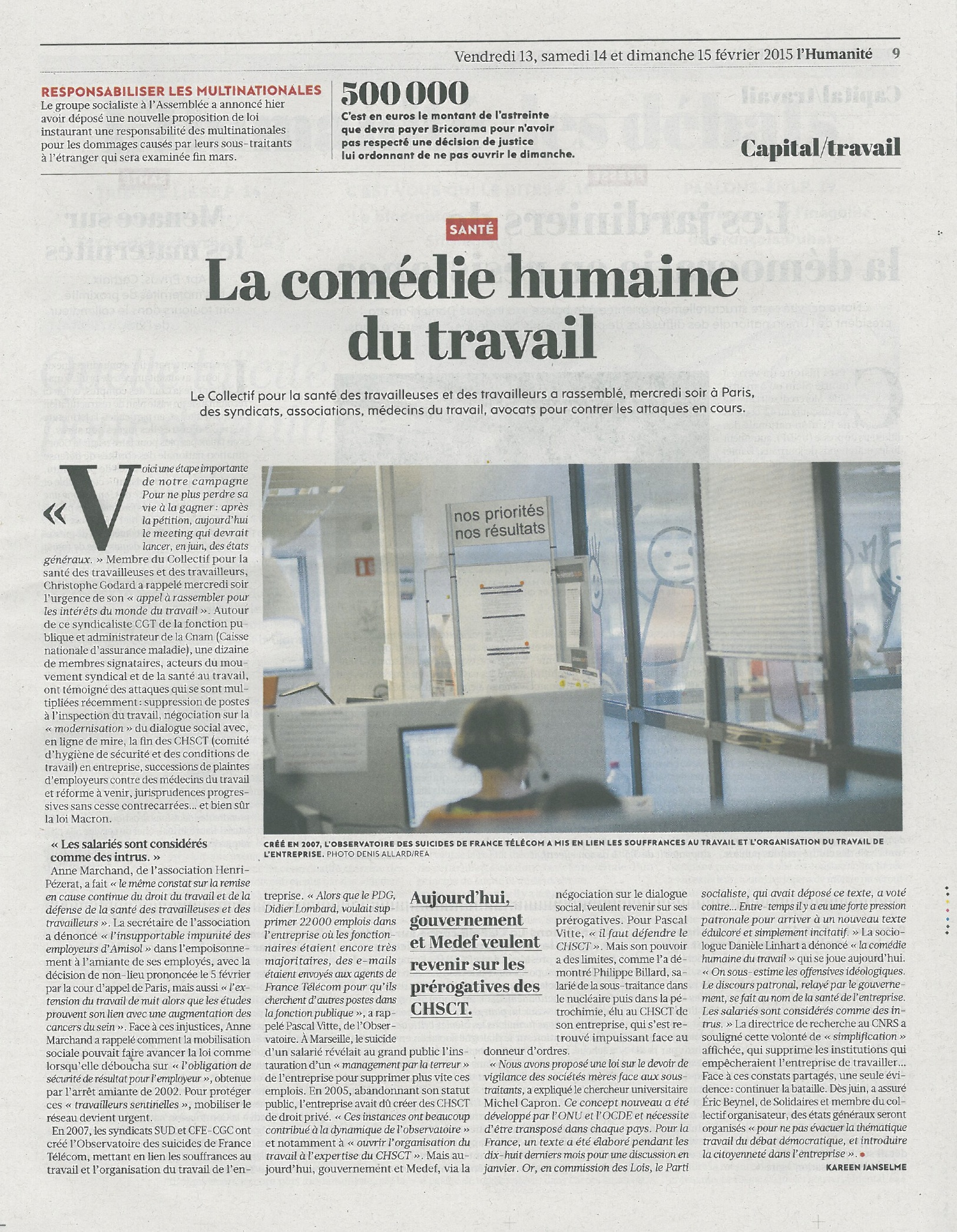 ARTICLE-Huma 13022015 meetingsantétravail
